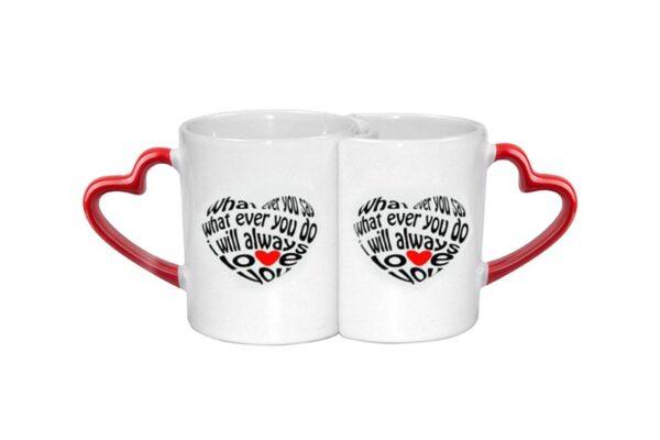 Διπλή κούπα με χερούλι καρδιά