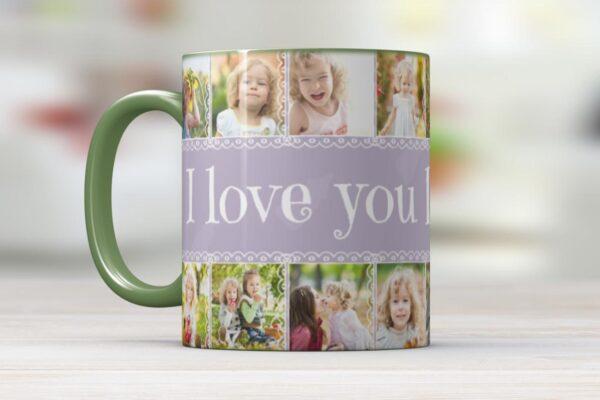 Εκτύπωση φωτογραφίας σε λευκή κούπα με χρωματιστό χείλος & χερούλι