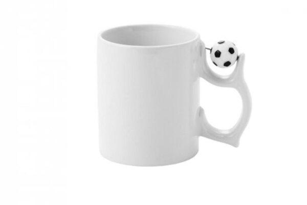 Εκτύπωση φωτογραφίας σε λευκή κούπα με μπάλα στο χερούλι
