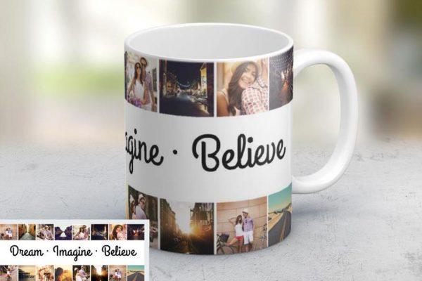 Εκτύπωση φωτογραφίας σε κούπα Dream Imagine Believe από το Print-Photos-Online.com