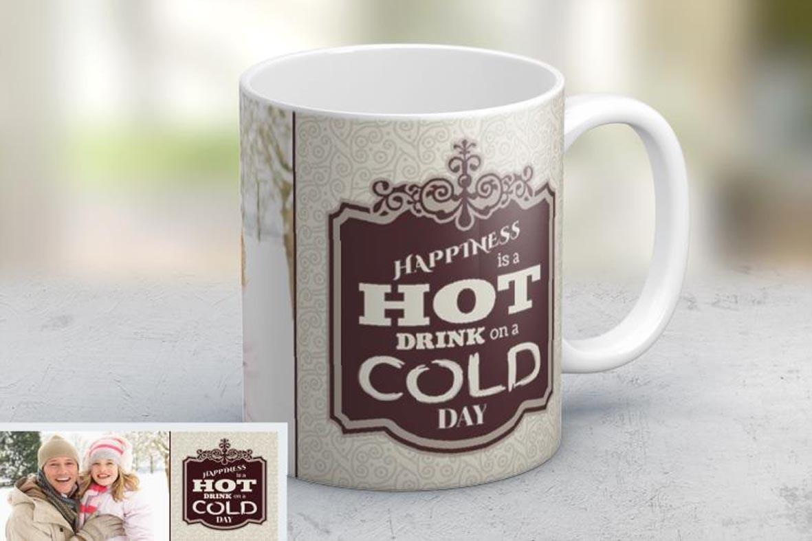 Εκτύπωση φωτογραφίας σε κούπα Happiness από το Print-Photos-Online.com