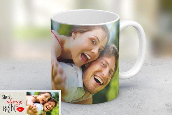 Εκτύπωση φωτογραφίας σε κούπα She's Always Right από το Print-Photos-Online.com